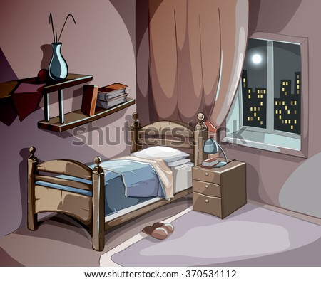 Bedroom interior at night in cartoon style. Vector sleeping concept background. Illustration room with bed furniture, comfort for sleep relaxation and dream - stock vector