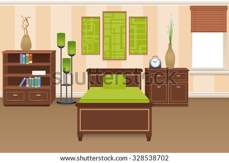 Bedroom interior concept with bed bookshelves and wardrobe vector illustration