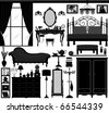Bedroom Interior Design set Furniture - stock vector