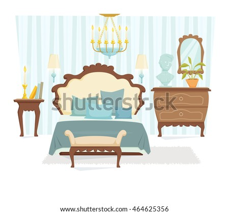 Bedroom interior with furniture and decoration in classic style. Bedroom interior cartoon vector illustration. Bedroom furniture and decor: bed, bedside table, lamp, pillow, shade. Elegant interior