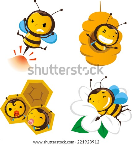 Bee action set 2, featuring cute bees doing bee stuff. - stock vector