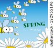 Bee and daisy. Spring background. Vector illustration. Eps 8. - stock vector
