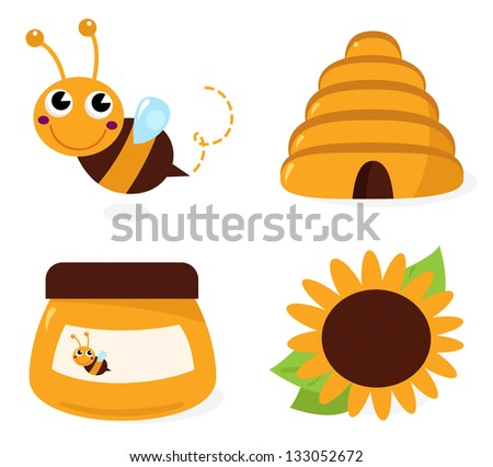 Bee and honey icons set isolated on white - stock vector