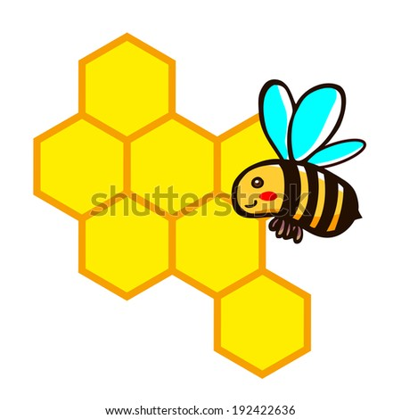 Bee and honeycombs, illustration cartoon clipart vector