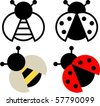 Bee and ladybird sign and symbol - stock vector