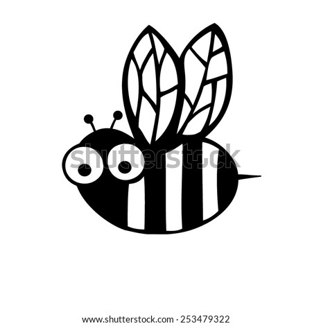 Bee.Black and white illustration.  - stock vector