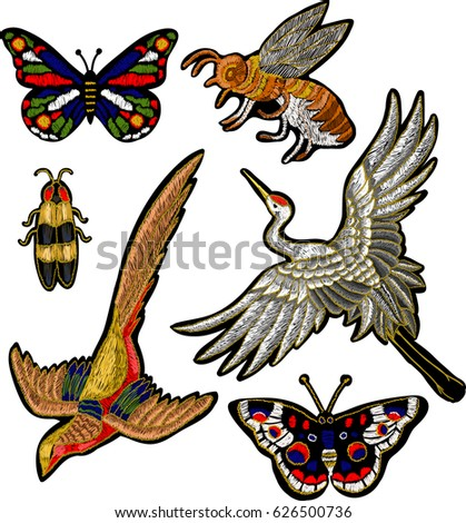 Bee, butterfly, beetle, crane bird stickers embroidery textile design