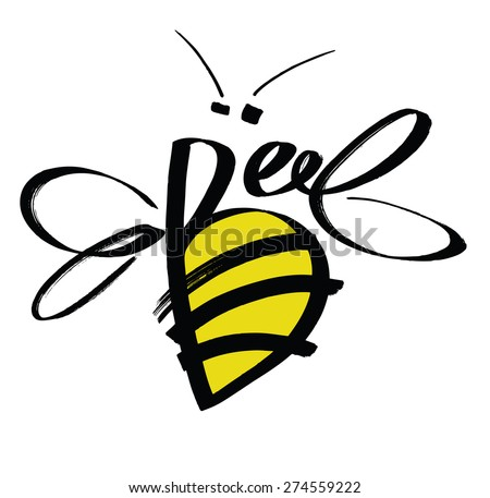 Bee Colored calligraphic design card - stock vector