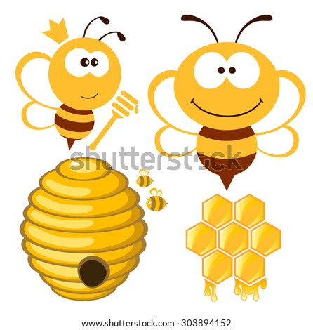 Bee, hive and honey  - stock vector