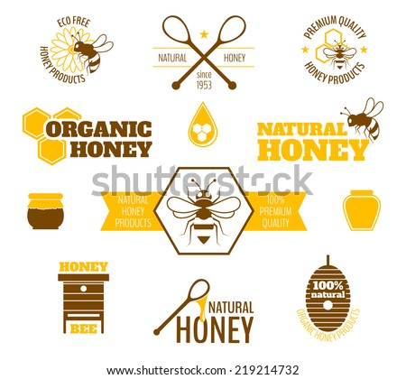Bee honey natural organic products colored label set isolated vector illustration - stock vector