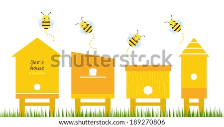 Bee houses spring collection vector  - stock vector