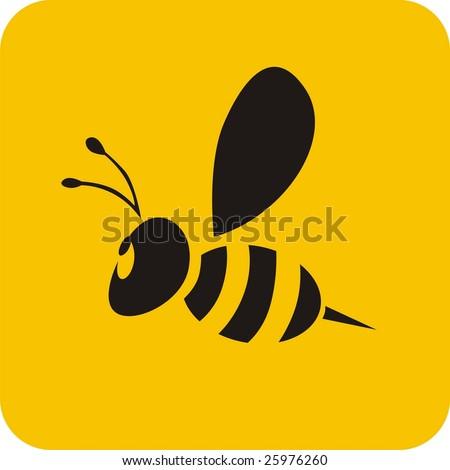 bee icon - stock vector