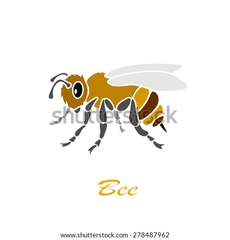 Bee icon isolated on white background, illustration. - stock vector