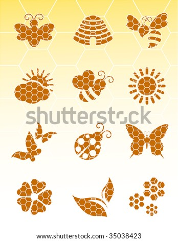 Bee icons on isolated background, vector illustration, EPS file included - stock vector