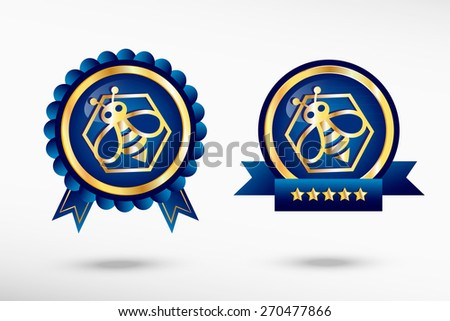 Bee in the hexagon stylish quality guarantee badges. Blue colorful promotional labels - stock vector