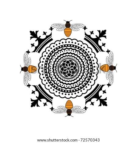 bee insignia - stock vector