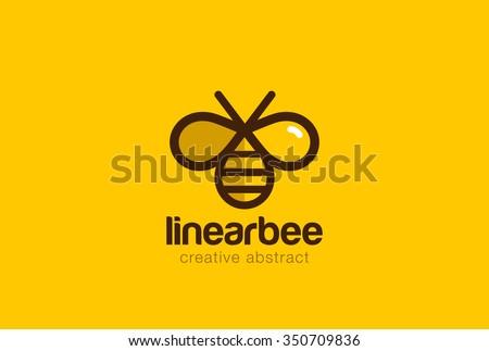 Bee Logo design vector template linear style. Outline icon. Creative Hard work Hive Logotype concept - stock vector