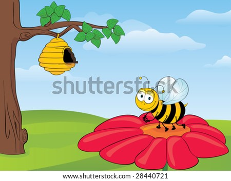 Bee on Flower - Vector