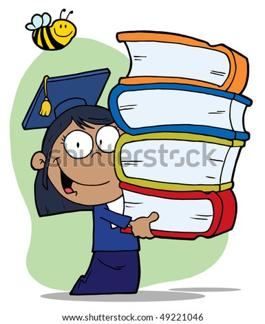 Bee Over A Hispanic Graduate School Girl Carrying A Stack Of Books