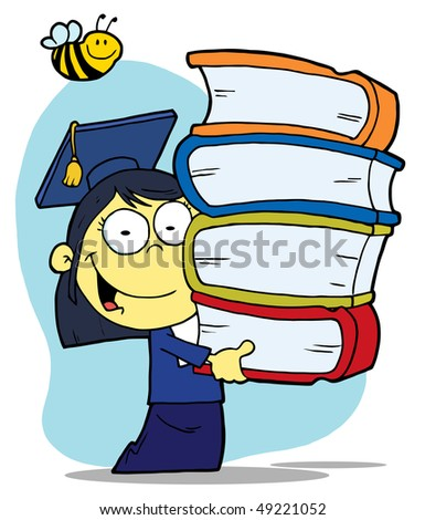 Bee Over An Asian Graduate School Girl Carrying A Stack Of Books - stock vector