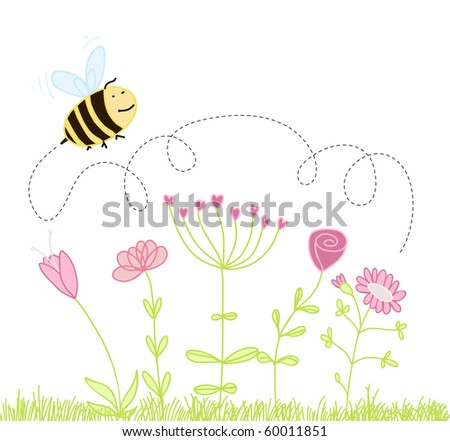 bee over the flowers - stock vector