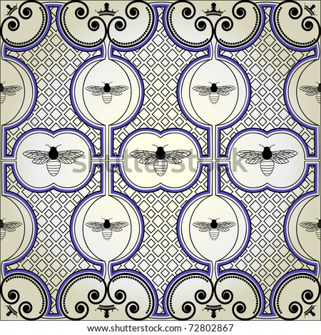 bee pattern background - stock vector