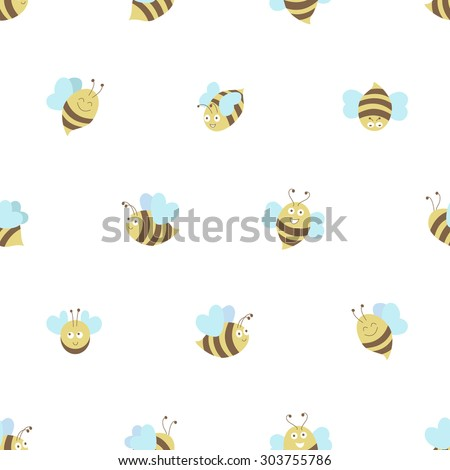 Bee seamless pattern on white background. Vector flat design - stock vector