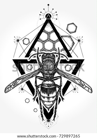 Bee tattoo and t shirt design. Symbol of freedom, flight. Wasp hand drawn vector
