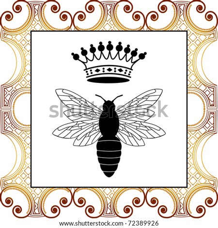 bee with crown - full pattern behind - stock vector
