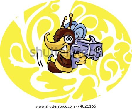 bee with gun - stock vector