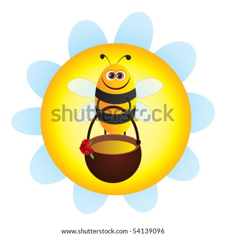 Bee with honey and flower
