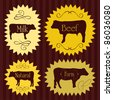 Beef cattle food labels illustration collection - stock vector