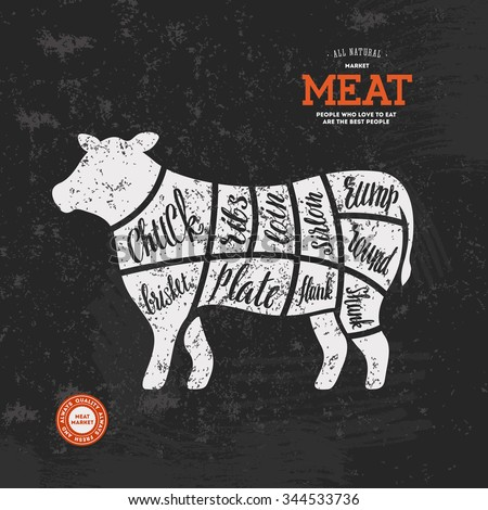 Beef Meat Cuts Diagram Butcher Chart Stock Vector 344533736 ...