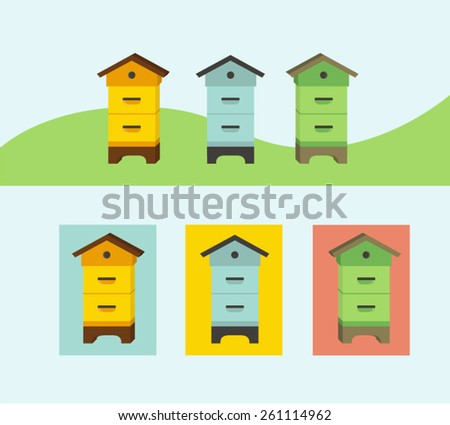 beehive icons - stock vector