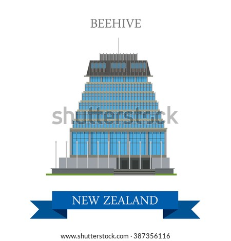 Beehive Parliament Building Wellington New Zealand. Flat cartoon style historic sight showplace attraction web site vector illustration. World countries cities vacation travel sightseeing collection