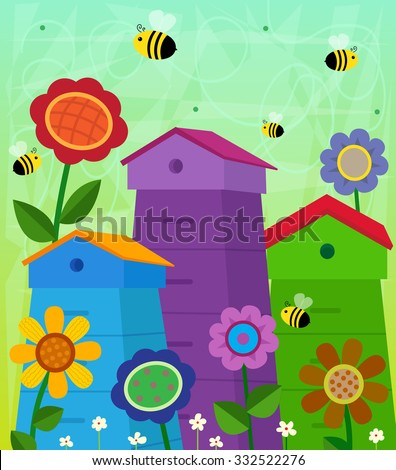 Beehives - Decorative and colorful beehives with flowers around it and cute flying bees. Eps10