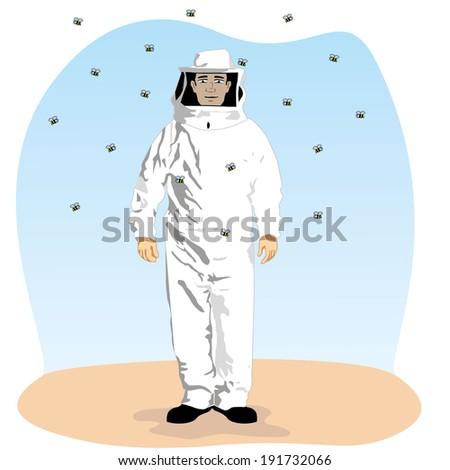 beekeeper profession  - stock vector