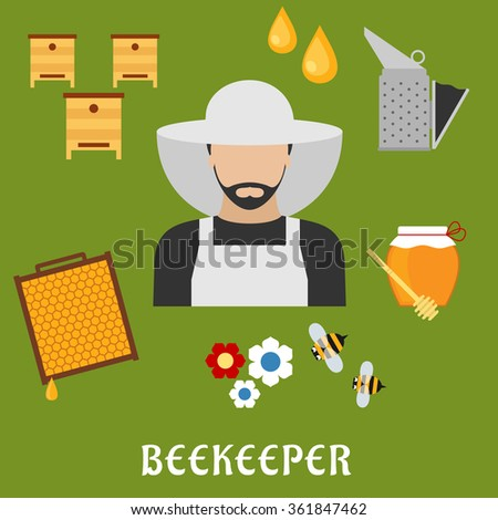 Beekeeper profession flat icons. Beekeeper man in hat, encircled by honey drops, wooden beehives, honeycomb frame, flowers, honey jar with dipper, smoker and bees. Beekeeping industry usage - stock vector