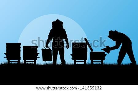 Beekeeper working in apiary vector background - stock vector