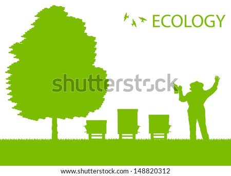 Beekeeper working in his apiary vector background ecology concept