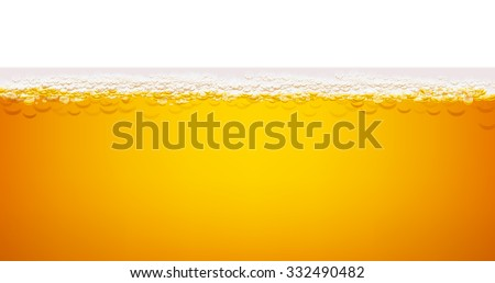 Beer and beer foam on white