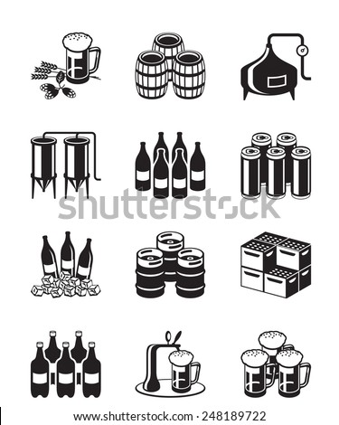 Beer and brewery icon set - vector illustration - stock vector