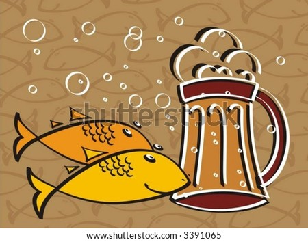 Beer and fish - stock vector
