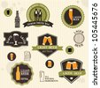 Beer badges and labels in vintage style design. Vector set - stock vector