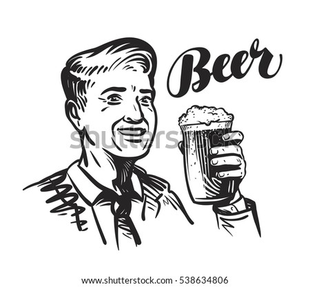 Beer bar or Pub. Happy smiling man with mug of fresh ale. Vector illustration
