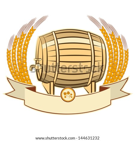 beer barrel.Vector illustration isolated on white background for design