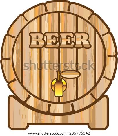 Beer barrel vector isolated - stock vector