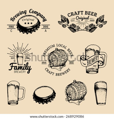 Beer bottle. Beer glass. Hand drawing vector sketch of brewery. Brewery background. Craft beer. Vector set of vintage brewery logo. Retro logotypes collection of beer elements. Beer icons. Beer barrel - stock vector