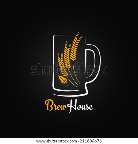 beer bottle glass barley design menu background  - stock vector