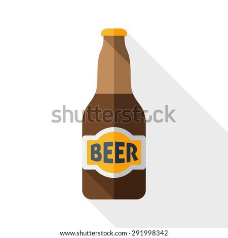 Beer bottle icon with long shadow on white - stock vector